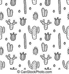 griffonnage, cactus, seamless