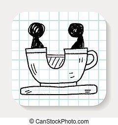 griffonnage, café, parc, jeu, tasse