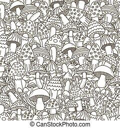 griffonnage, champignons, noir, fond blanc, seamless, pattern.