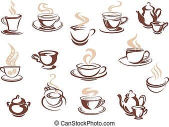 griffonnage, croquis, ensemble, café, icônes
