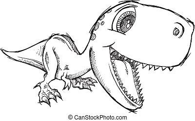 griffonnage, croquis, rex, tyrannosaurus
