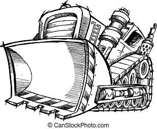 griffonnage, croquis, vecteur, art, bulldozer