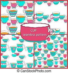 griffonnage, cup., motifs, coloré, clair, seamless, divers