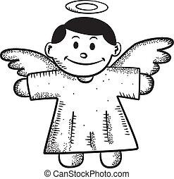 griffonnage, dessin animé, ange