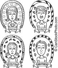 griffonnage, dessin animé, famille
