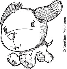 griffonnage, dessin, croquis, chiot, chien
