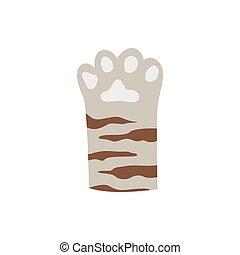 griffonnage, dessin, patte, raies, gris, -, mignon, chat, brun, pied, félin, animal