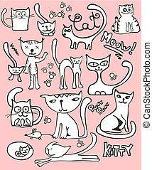 griffonnage, ensemble, chat