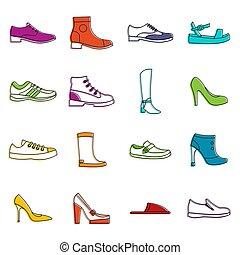 griffonnage, ensemble, chaussure, icônes