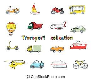 griffonnage, ensemble, coloré, transport