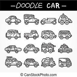 griffonnage, ensemble, dessin animé, voiture, icône