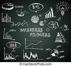 griffonnage, ensemble, diagrammes, business, tableau noir