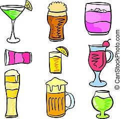 griffonnage, ensemble, divers, collection, boisson
