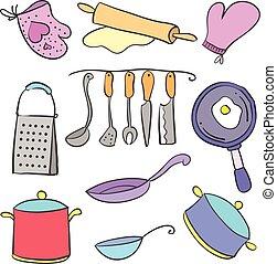 griffonnage, ensemble, divers, collection, cuisine