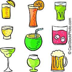 griffonnage, ensemble, divers, coloré, boisson