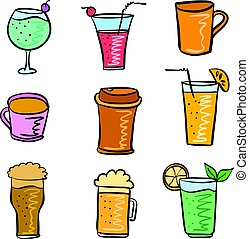 griffonnage, ensemble, divers, illustration, boisson