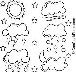 griffonnage, ensemble, divers, nuage
