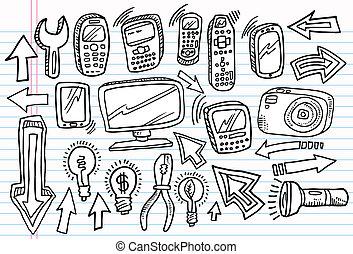 griffonnage, ensemble, vecteur, croquis, cahier