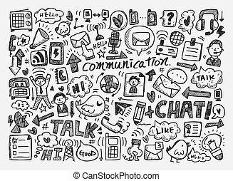 griffonnage, fond, communication