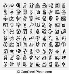 griffonnage, gens, icônes