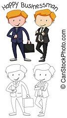 griffonnage, graphique, homme affaires