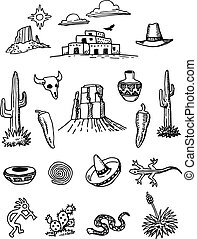 griffonnage, hand-drawn, ensemble, désert
