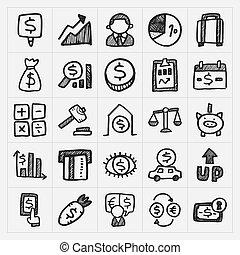 griffonnage, icônes financières