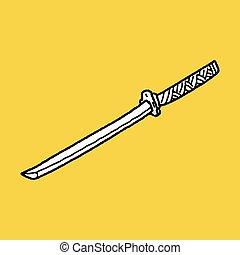 griffonnage, japonaise, couteau