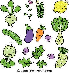 griffonnage, légumes, ensemble, divers