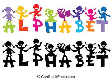 griffonnage, lettres, enfants, alphabet
