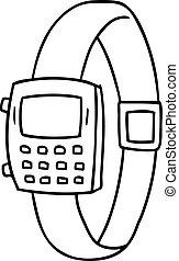 griffonnage, ligne, montre, retro, dessin