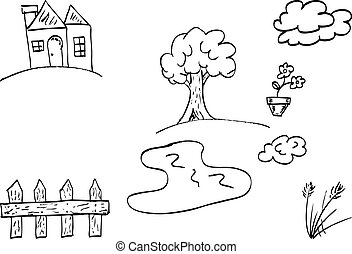griffonnage, maison, jardin
