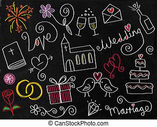 griffonnage, mariage, tableau, icônes