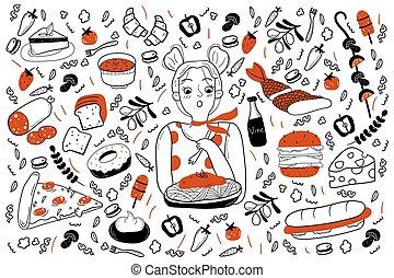 griffonnage, nourriture, ensemble