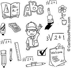 griffonnage, outils école, étudiant