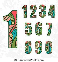 griffonnage, résumé, ensemble, pattern., nombres