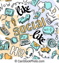 griffonnage, social, seamless, fond, média, modèle