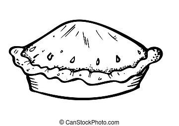 griffonnage, style, tarte