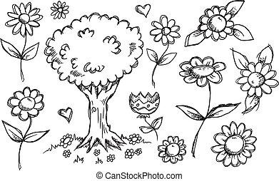 griffonnage, vecteur, croquis, nature, jardin