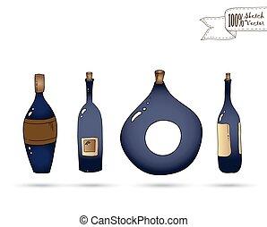 griffonnage, vecteur, vin, style., bottles.