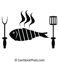 gril, fish, rôti, barbecue