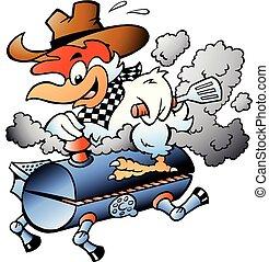 gril, illustration, dessin animé, vecteur, équitation, baril, poulet, barbecue