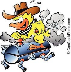 gril, illustration, dessin animé, vecteur, jaune, équitation, baril, poulet, barbecue