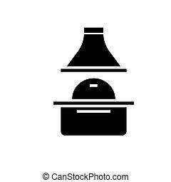 gril, illustration, isolé, signe, vecteur, arrière-plan noir, icône, brique