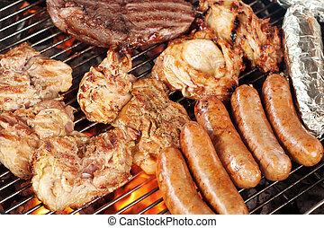 gril, viande, barbecue