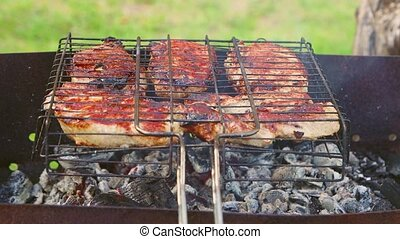 grillé, appétissant, emanates, fumée, coupures, coals., gril, viande