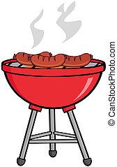 grillé, barbecue, saucisses