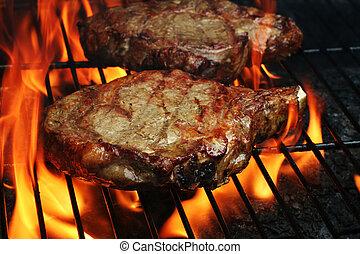 grillé, biftecks