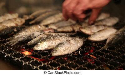 grillé, brûler, sardines