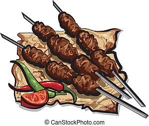 grillé, chiche-kebab